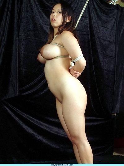 slave girl Tiger enjoying rope fetish on her huge boobs